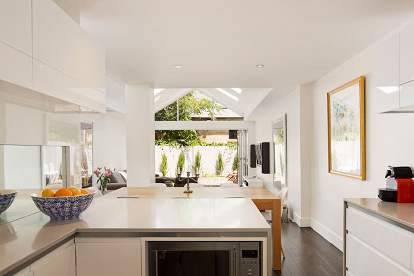 Sydney Architect Fin Terrace house Architects Surry Hills skylights. new kitchen, bathrooms, ensuite, attic level