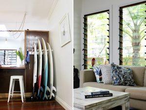 Surfboard rack in Byron Bay beach house renovation